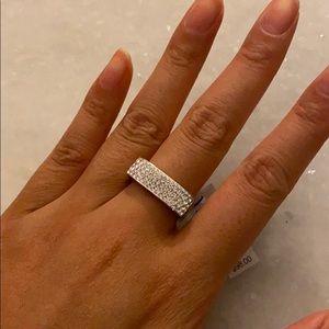 Henri Bendel Silver Crystal Ring (Size 8)